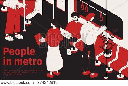People In Metro Isometric Poster With Passengers Standing And Sitting In  Subway Car Vector Illustra