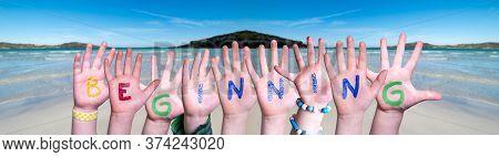 Children Hands Building Word Beginning, Ocean Background
