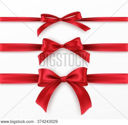 Set Red Bow And Ribbon On White Background. Realistic Red Bow For Decoration Design Holiday Frame, B