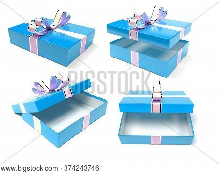 Gift Boxes. Blue Box With A Bow. 3d Rendering Illustration Isolated On White Background