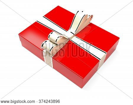 Christmas Box. Red Gift Box Decorated With Shiny Silver Ribbon. 3d Rendering Illustration Isolated O