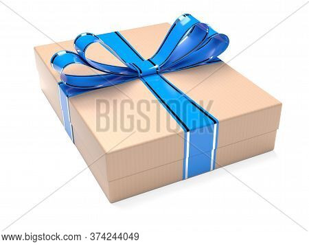 Gift Box Decorated With Blue Ribbon. Brown Carton. 3d Rendering Illustration Isolated On White Backg