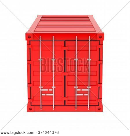 Shipping Freight Container. Red Closed Container. 3d Rendering Illustration Isolated On White Backgr