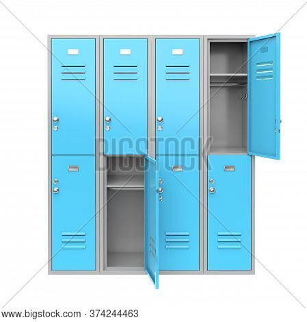 Blue Metal Locker With Open Doors. Two Level Compartment. 3d Rendering Illustration Isolated On Whit