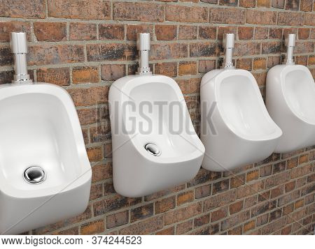 White Ceramic Urinals. On Old Red Bricks Wall. Public Toilet. 3d Rendering Illustration.