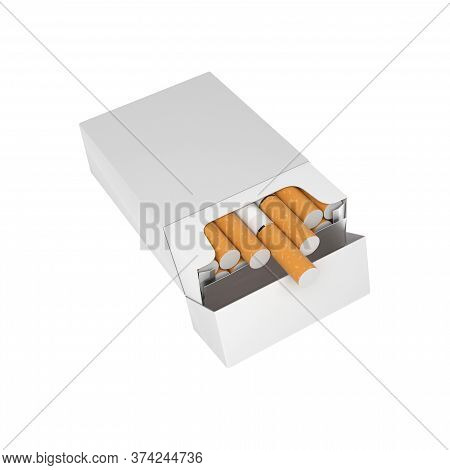 White Blank Pack Of Cigarettes. With Brown Filter. 3d Rendering Illustration Isolated On White Backg