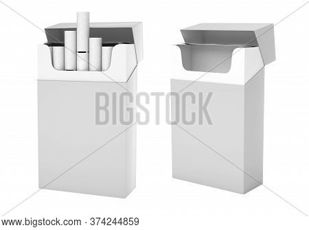 White Pack Of Cigarettes With White Filter. Open Empty And Full Packs. 3d Rendering Illustration Iso