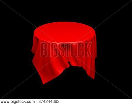 Red Tablecloth On Invisible Round Table. On Black Background. 3d Rendering Illustration