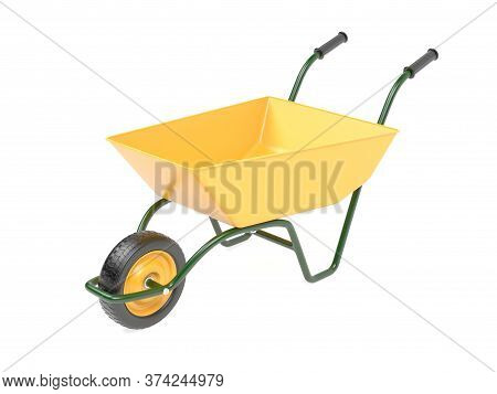 Yellow Garden Barrow. 3d Rendering Illustration Isolated On White Background