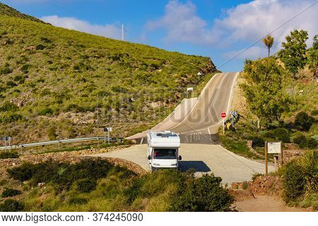 Caravan Rv At Viewpoint La Amatista In Cabo De Gata Natural Park, Provincia Almeria, Andalusia Spain