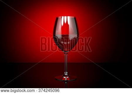 Wine Glass With Red Wine. On Dark Red Background. 3d Rendering Illustration