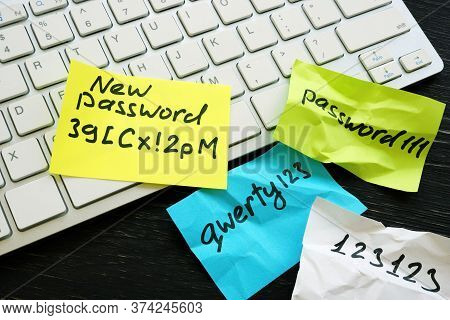 New Strong Password And Weak Ones Near Keyboard.