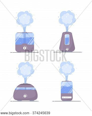 Humidifier Air Icon. Set Of Ultrasonic Purifiers Microclimate For Home. Healthy Humidity. Modern Vec