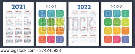 Calendar 2021 And 2022. English Color Vector Set. Vertical Wall Or Pocket Calender Template. Design