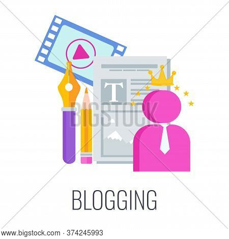 Blogging Icon. Content Marketing. Advertising Campaign Planning. Figurine Of Man In Crown With Sheet