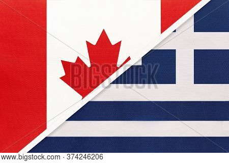 Canada And Greece Or Hellenic Republic, Symbol Of Two National Flags From Textile. Relationship, Par