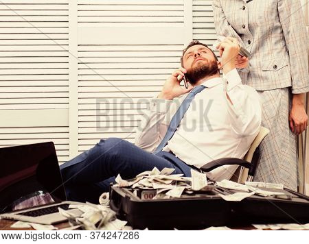 Rich And Successful Concept. Financial Success. Boss And Secretary In Office. Successful Startup. Fi
