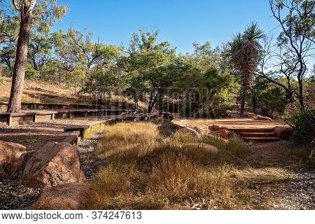 A Simple Bushland Ampitheatre At An Australian Outback Tourist Resort In A Volcanic National Park