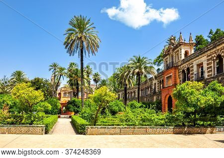 Famous Seville Alcazar Gardens In Summer, Spain