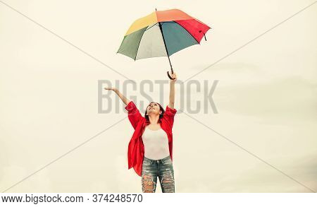 Rainy Weather. Good Mood. Good Vibes. Open Minded Person. Girl Feeling Good Sky Background. Easy And