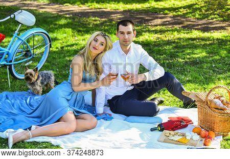 Inspiring Feelings. Cheers. Celebrate Anniversary. Attractive Couple Enjoying Romantic Sunset Picnic