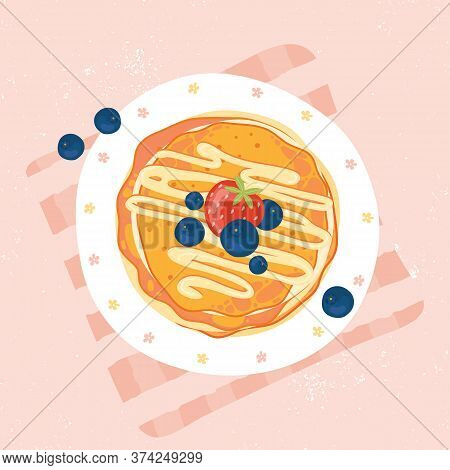 Sweet Pancakes With Cream, Strawberries And Blueberries, Top View. Pancakes With Berries On White Pl