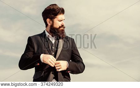Fashion Trend. Guy Beard And Mustache Wear Formal Clothes. Just Right. Businessman Bearded Face Sky