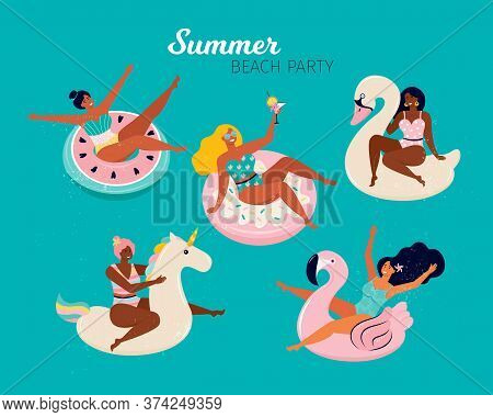 Happy Women At A Summer Beach Party. People Swim In The Pool Or In The Sea On The Inflatable Floats,