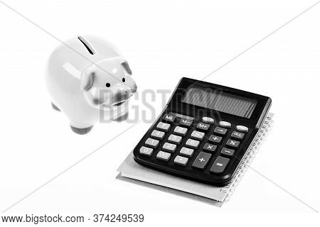 Piggy Bank Pink Pig And Calculator. Exchange Rates. Economics And Business Administration. Credit De