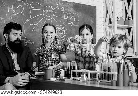 School Club. School Education. Explaining Chemistry To Kid. Fascinating Chemical Reaction. Teacher A