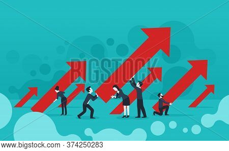 Business Growth And Success - People Group Holds Arrows With Upward Direction (45 Degrees Direction)