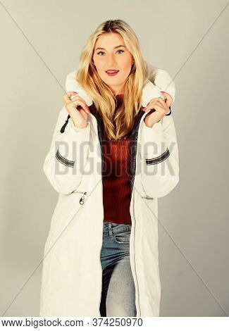 Winter Flu. Beauty In Winter Clothing. Cold Season Shopping. Woman In Padded Warm Coat. Happy Winter