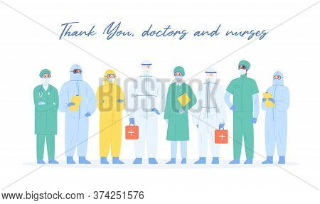 Team Of Professional Medical Staff In Safety Costumes Standing Together Vector Illustration. Group O
