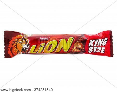 Bucharest, Romania - April 15, 2016. Lion King Size Chocolate Bar Isolated On White, Produced By Nes