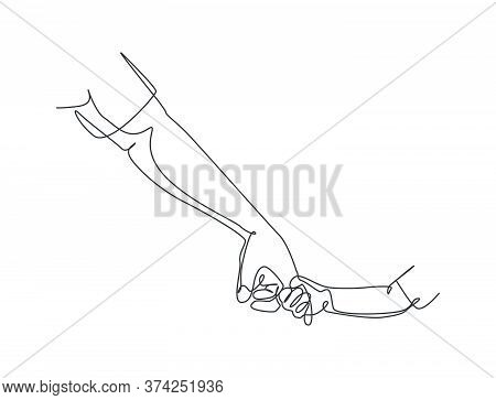 One Line Drawing Of Father Giving Hand To His Child. Parenting Mother Care In Continuous Line Drawin