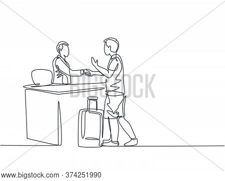 One Line Drawing Of Young Male Tourist Handshaking Hotel Receptionist And Ask To Book A Room While H