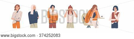 Set Of Different Thoughtful People Vector Illustration. Collection Of Various Man And Woman Thinking