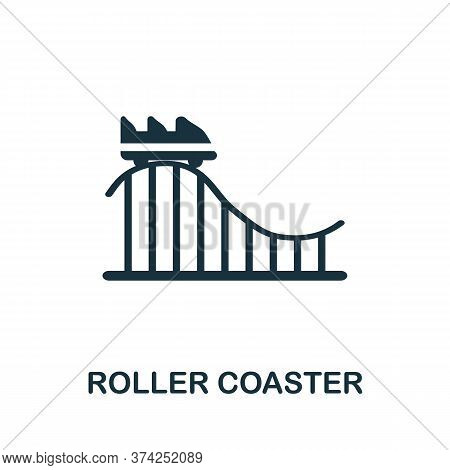Roller Coaster Icon. Simple Element From Amusement Park Collection. Creative Roller Coaster Icon For