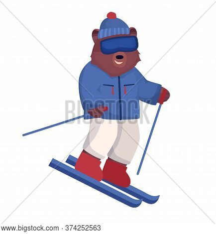 The Animal Character Is Brown, A Bear In A Ski Suit And Glasses Is Skiing, A Winter Form Of Outdoor