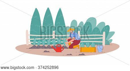 Planting Vegetables. Isolated Gardener Man Person Cartoon Character Farming, Gardening And Planting
