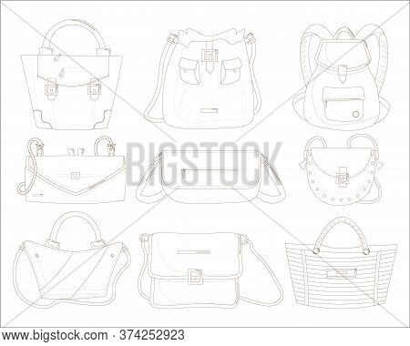 Female Handbags Set. Isolated Woman Hand Bag Beauty Line Contour Drawings. Lady Handbag, Clutch, Bac