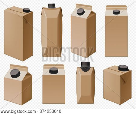 Craft Dairy Pack. Brown Milk Box And Juice Cardboard Bottle Packaging Isolated. Drink Package Set Fo