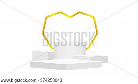 Podium Pedestal Stage White Grey And Luxurious Gold Heart Shaped Frame, Stage Podium 3d For Cosmetic