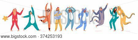 Costume Party. Happy People Wearing Animal Costume Onesies Set. Young Men And Women Cartoon Characte