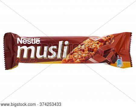 Bucharest, Romania - April 14, 2015. Nestle Musli Chocolate Cereal Bar. Nestle Musli Can Be A Health