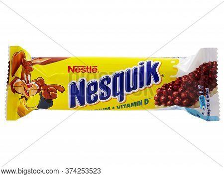 Bucharest, Romania - April 14, 2015. Nestle Nesquik Cereal Bar. Nestle Nesquik Can Be A Healthy Snac