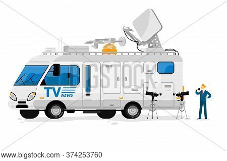 Broadcast Bus. Isolated Broadcasting Communication Transport Station. Television Bus Auto Vehicle Wi