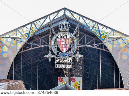 Barcelona, Spain - June 2019: Boqueria Market On La Rambla Street