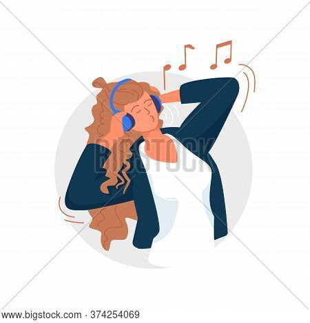 Woman Singing. Woman Listening To Music, Singing Song And Having Fun. Music Lover Wearing Wireless H