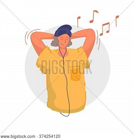 Enjoying Music. Smiling Teenager Listening To Music, Relaxing And Having Fun. Music Lover Wearing Ea